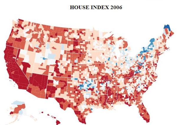 The 2006 housing index at peak is substantially higher than it was in 2000.