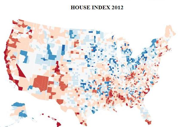 The 2012 housing index 6 years after national peak returns to that of 6 years prior.